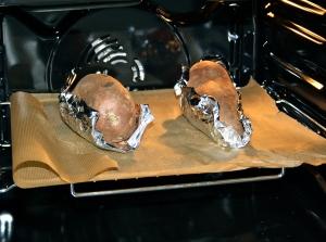 Die Süßkartoffeln im Ofen